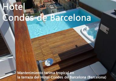 Mantenimiento tarima barcelona. Madera piscina Hotel Condes de Barcelona