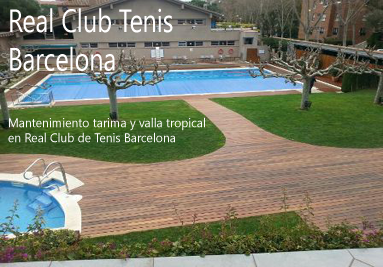 Mantenimiento tarima madera piscina Barcelona. Real Club de Tenis Barcelona