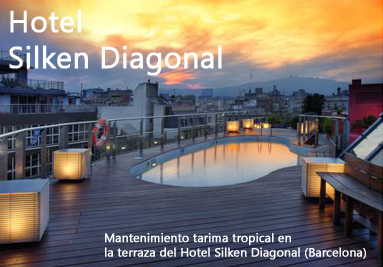 Tratamiento madera tarima piscina Barcelona. Hotel Silken Diagonal Barcelona