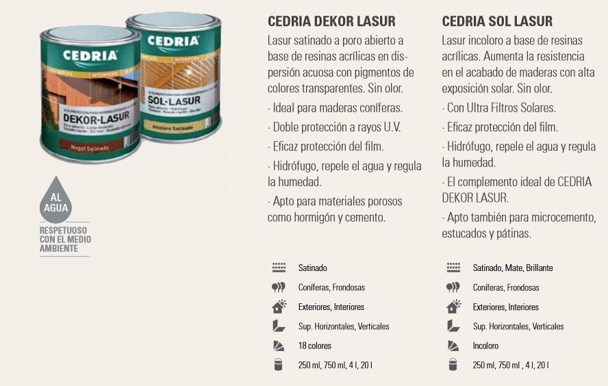 Productos para la madera > Lasures y barnices para madera > Cedria Dekor Lasur