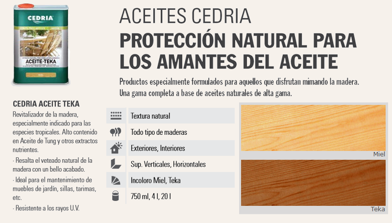 Barnizar madera > Aceites para madera > Cedria Aceite Teka