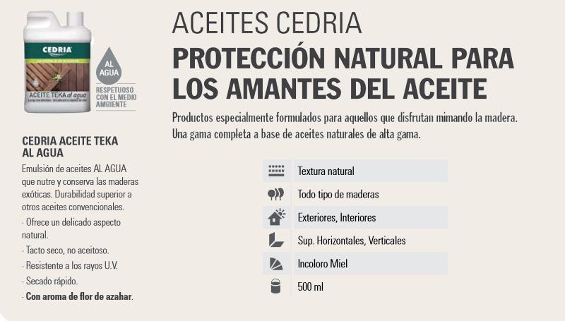 Barnizar madera > Aceites para madera > Cedria Aceite Teka al agua